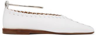 Jil Sander White Whipstitch Anklet Ballerina Flats