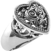 Barse Women's Beaded Scroll Sterling Heart Ring RING37SS