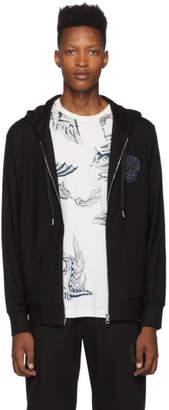 Alexander McQueen Black Skull Patch Zip-Up Hoodie
