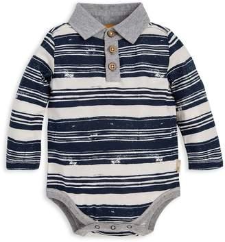 Burt's Bees Stamped Stripe Organic Baby Polo Bodysuit