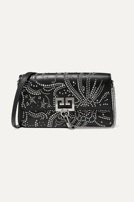 Givenchy Charm Studded Leather Shoulder Bag - Black