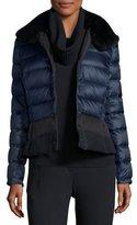 Escada Short Puffer Jacket with Fur Collar