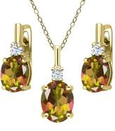 Gem Stone King 6.98 Ct Mango Mystic Topaz White Topaz 18K Yellow Gold Plated Silver Pendant Earrings Set