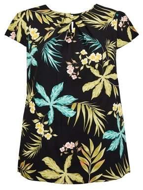 Dorothy Perkins Womens **Billie & Blossom Curve Palm Print Short Sleeve Shell Top