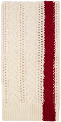 Alexander McQueen White and Red Stripe Scarf