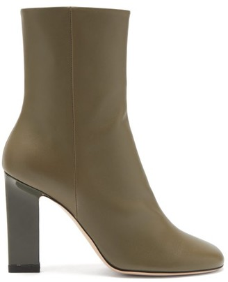 Wandler Carly Block-heel Leather Ankle Boots - Khaki