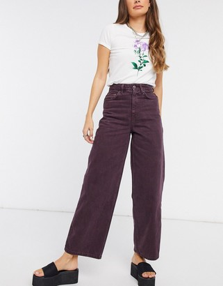ASOS DESIGN high rise 'relaxed' dad jeans in plum