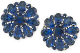 Carolee Silver-Tone Blue Crystal Cluster Clip-On Earrings