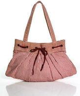 Lauren Merkin Red White Pinstriped Pleated Front Woven Bow Shoulder Handbag