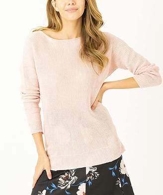 Simmly Women's Pullover Sweaters Salmon - Salmon Side-Slit Dolman Sweater - Women
