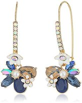 "Betsey Johnson Betsey Blues"" Faceted Stone Flower Long Drop Earring"