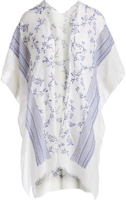 Lvs Collections LVS Collections Women's Kimono Cardigans WHITE - White Floral Stripe-Accent Kimono - Women