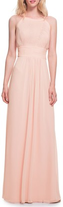 #Levkoff Low Back Pleat Chiffon A-Line Gown