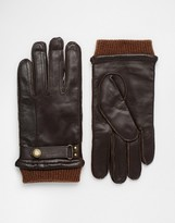 Dents Penrith Leather Gloves With Wrist Strap - Brown