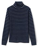 Lands' End Men's Stripe Rib Merino Turtleneck Sweater-Cardinals And Holly