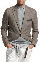 Brunello Cucinelli Deconstructed Prince of Wales Sport Jacket, Brown