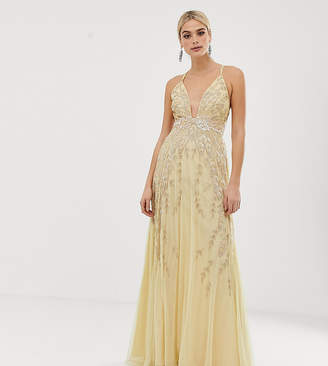 Asos Tall DESIGN Tall embellished maxi dress-Yellow