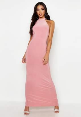 boohoo High Neck Slinky Maxi Dress