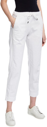MAX MARA LEISURE Drawstring-Waist Cotton Ankle Pants