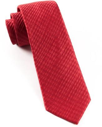 Tie Bar Silk Seersucker Solid Red Tie
