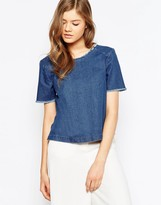 Pieces Denim Shirt with Frayed Neckline