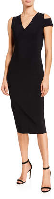 Chiara Boni Asymmetric Shoulder V-Neck Sheath Dress