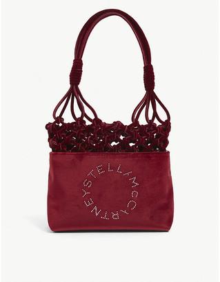 Stella McCartney Logo-embellished knotted mini velvet bag