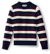 Lands' End Boys Husky Stripe Crewneck Sweater-Burgundy Multi Stripe