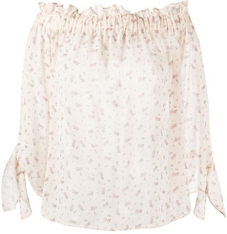 Semi-Couture Floral-Print Sheer Blouse