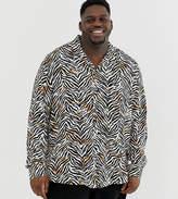 Collusion COLLUSION Plus oversized zebra print revere shirt