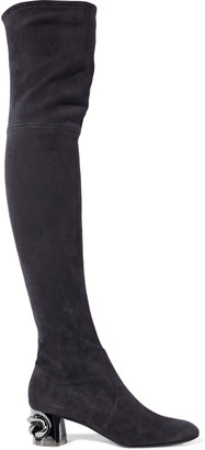 Casadei Embellished Suede Thigh Boots