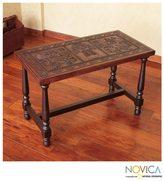 Novica Mohena Wood and Leather 'Inca Mailman' Coffee Table (Peru)