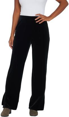 Susan Graver Petite Stretch Velvet Pants with Side Slits