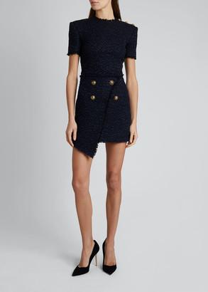 Balmain Asymmetric Tweed Wrap Skirt