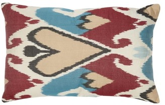 Les Ottomans - Ikat-print Silk Cushion - Red Multi