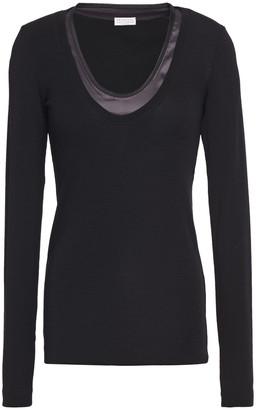Brunello Cucinelli Satin-trimmed Stretch-cotton Jersey Top