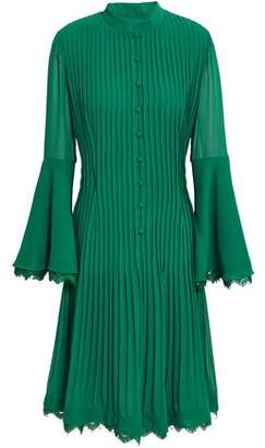 Mikael Aghal Lace-trimmed Fluted Pleated Crepe Dress