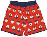 Florence Eiseman Sailboat Swim Trunks, Red, Size 2T-4T