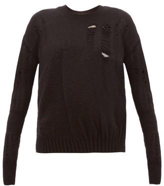 Ann Demeulemeester Distressed Wool-blend Sweater - Black