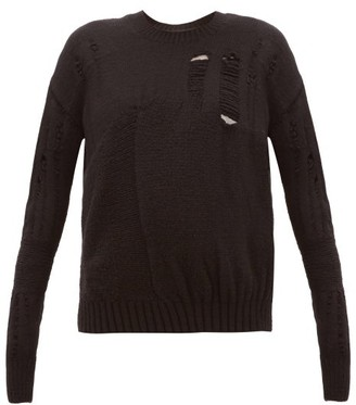 Ann Demeulemeester Distressed Wool-blend Sweater - Womens - Black