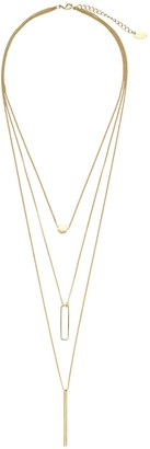 Sterling Forever Bar, Disk & Open Bar Drop Layered Necklace