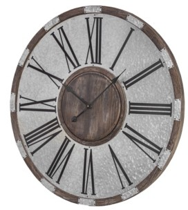 Crystal Art Gallery American Art Decor Wood and Oversized Vintage-like Wall Clock