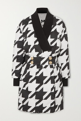 Balmain Button-embellished Houndstooth Quilted Shell Down Coat - Black