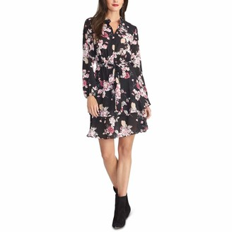 Rachel Roy Womens Black Belted Floral Long Sleeve Collared Above The Knee Ruffled Dress Size: XXL