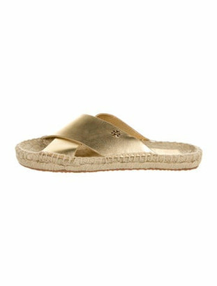 Tory Burch Leather Espadrilles Gold
