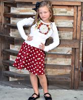 Beary Basics White Floral Top & Red Polka Dot Skirt Set - Infant Toddler & Girls