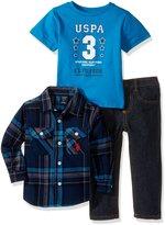 U.S. Polo Assn. Boys' Toddler 3 Piece Long Sleeve Fancy Sport Shirt, T-Shirt Or Creeper, and Denim Jean Set