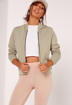 Missguided Petite Loopback Bomber Jacket Green