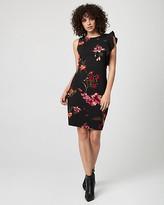 Le Château Floral Print Knit Crepe Ruffle Dress