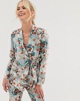 UNIQUE21 floral print wrap front blazer
